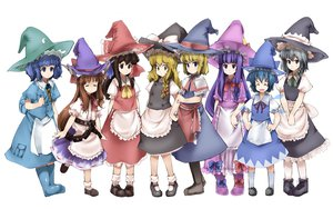 Rating: Safe Score: 32 Tags: alice_margatroid cirno fairy group hakurei_reimu hat ibuki_suika izayoi_sakuya kawashiro_nitori kirisame_marisa maid nounanka patchouli_knowledge touhou white witch witch_hat User: rargy