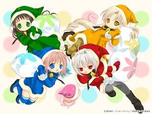 Rating: Safe Score: 9 Tags: bottle_fairy chiriri christmas hororo kururu oboro pointed_ears sarara tokumi_yuiko User: Oyashiro-sama