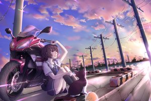 Rating: Safe Score: 35 Tags: animal brown_eyes brown_hair cat clouds imo_bouya motorcycle original scenic school_uniform short_hair skirt sky water User: BattlequeenYume