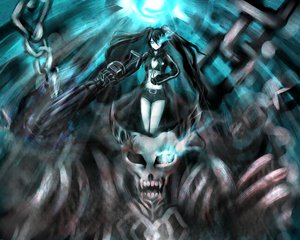 Rating: Safe Score: 33 Tags: black_hair black_rock_shooter blue_eyes chain kuroi_mato moekyon shorts skull twintails weapon User: PAIIS