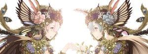 Rating: Safe Score: 80 Tags: 2girls animal bird blue_hair butterfly close feathers flowers leaves myrt1e pink_hair ram_(re:zero) rem_(re:zero) re:zero_kara_hajimeru_isekai_seikatsu rose twins User: mattiasc02