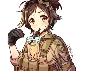 Rating: Safe Score: 12 Tags: blush bow brown_hair cropped danielle_brindle drink gloves headphones microphone military original ponytail short_hair signed sketch uniform waifu2x white yellow_eyes User: otaku_emmy