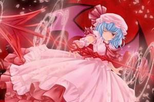 Rating: Safe Score: 37 Tags: blue_hair dress hat magic nekokotei petals red_eyes remilia_scarlet short_hair spear touhou vampire weapon wings wink User: HawthorneKitty
