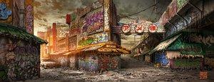 Rating: Safe Score: 25 Tags: building city clouds graffiti nobody original ruins sky sunset tokyogenso watermark User: otaku_emmy