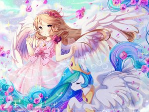 Rating: Safe Score: 19 Tags: animal blush bow brown_hair crown dress horns horse long_hair my_little_pony my_little_pony:_friendship_is_magic necklace original pegasus princess_celestia ribbons tagme_(artist) watermark wings yellow_eyes User: BattlequeenYume