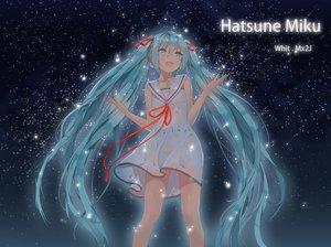 Rating: Safe Score: 107 Tags: aqua_hair dress hatsune_miku jpeg_artifacts long_hair ribbons see_through stars twintails vocaloid wet yonggi User: Flandre93