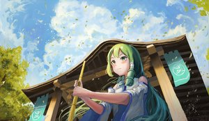 Rating: Safe Score: 29 Tags: building clouds fjsmu kochiya_sanae leaves long_hair touhou User: FormX
