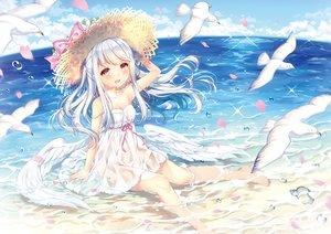Rating: Safe Score: 62 Tags: animal beach bird dress hat long_hair original red_eyes see_through summer_dress waifu2x wasabi_(sekai) water wet white_hair wings User: luckyluna