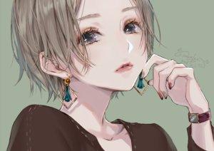 Rating: Safe Score: 60 Tags: brown_hair close gray_eyes green lma original short_hair signed wristwear User: otaku_emmy