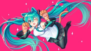 Rating: Safe Score: 19 Tags: animal_ears aqua_eyes aqua_hair blush catgirl gloves hatsune_miku kk_(aky2374) long_hair pantyhose pink skirt tail tattoo thighhighs tie twintails vocaloid User: Dreista