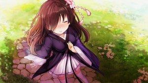 Rating: Safe Score: 51 Tags: blush brown_hair flowers game_cg grass japanese_clothes long_hair mirror_(game) ribbons tagme_(artist) thighhighs zettai_ryouiki zombie_caiyun User: Demuwu