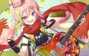 Rating: Safe Score: 20 Tags: blush elbow_gloves gloves guitar instrument pink_hair purple_eyes sakuramochi_maho scarf short_hair syuri22 User: Maboroshi