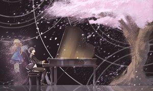 Rating: Safe Score: 25 Tags: arima_kousei black_hair blonde_hair cherry_blossoms instrument kneehighs long_hair male miyazono_kawori piano shigatsu_wa_kimi_no_uso short_hair skirt suit tree User: humanpinka