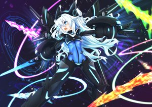 Rating: Safe Score: 178 Tags: armor black_heart blue_eyes bodysuit hyperdimension_neptunia long_hair mechagirl mizunashi_(second_run) next_black noire sword weapon white_hair User: Wiresetc