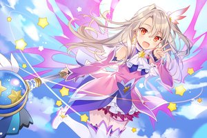 Rating: Safe Score: 84 Tags: blonde_hair boots clouds dress fate/kaleid_liner_prisma_illya fate_(series) illyasviel_von_einzbern long_hair magic ponytail red_eyes rie_(reverie) sky stars thighhighs waifu2x wand wings zettai_ryouiki User: otaku_emmy