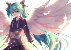 Rating: Safe Score: 7 Tags: akabane_(pixiv3586989) aqua_hair blush hatsune_miku long_hair skirt twintails vocaloid wings User: Wiresetc