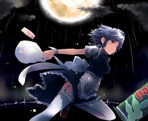 Rating: Safe Score: 70 Tags: braids clouds food garter gray_hair headdress izayoi_sakuya maid moon night rain sky thighhighs touhou waitress water yellow_eyes User: Tensa