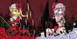 Rating: Safe Score: 108 Tags: 2girls blonde_hair blue_hair chain choker cloudy.r dress flandre_scarlet flowers hat red_eyes remilia_scarlet rose skull touhou vampire wings User: opai