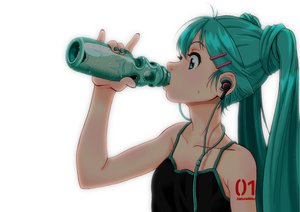 Rating: Safe Score: 109 Tags: aqua_eyes aqua_hair drink hatsune_miku headphones long_hair morockol twintails vocaloid white User: FormX