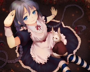 Rating: Safe Score: 187 Tags: alice_in_wonderland animal apron blue_eyes braids butterfly cosplay dress eventh7 gray_hair hatsune_miku long_hair rabbit red_eyes ribbons thighhighs twintails vocaloid white_rabbit wristwear User: Wiresetc