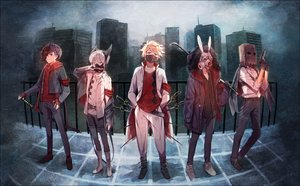 Rating: Safe Score: 63 Tags: all_male animal_ears blonde_hair blue_eyes boots bunny_ears gloves group gun hakusai katana male mask original short_hair sword weapon User: RyuZU