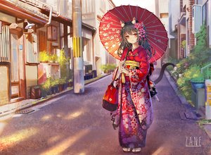 Rating: Safe Score: 97 Tags: animal_ears black_hair blush building catgirl city japanese_clothes kimono long_hair orange_eyes original sxbzero tail watermark User: BattlequeenYume