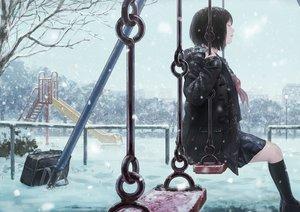 Rating: Safe Score: 57 Tags: black_hair hoodie kneehighs original romiy school_uniform short_hair skirt snow tree winter User: BattlequeenYume