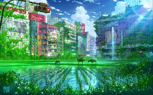 Rating: Safe Score: 64 Tags: animal building city clouds original reflection ruins scenic sky tokyogenso water watermark User: FormX