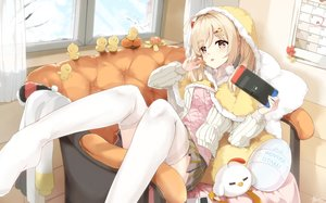 Rating: Safe Score: 105 Tags: aliasing animal bird blonde_hair blush cape couch food fruit game_console hoodie kyod+ long_hair orange_(fruit) original signed skirt thighhighs twintails yellow_eyes User: BattlequeenYume