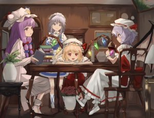 Rating: Safe Score: 40 Tags: blonde_hair book bow braids dress drink flandre_scarlet flowers gray_eyes gray_hair group hat headdress izayoi_sakuya kneehighs long_hair maachi_(fsam4547) maid patchouli_knowledge purple_eyes purple_hair red_eyes remilia_scarlet rose short_hair socks touhou twintails vampire wings wristwear User: otaku_emmy