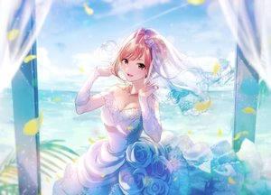 Rating: Safe Score: 72 Tags: arisugawa_natsuha breasts brown_eyes brown_hair cleavage clouds dress elbow_gloves flowers gloves headdress idolmaster idolmaster_shiny_colors leaves magako necklace rose short_hair sky water wedding_attire User: BattlequeenYume