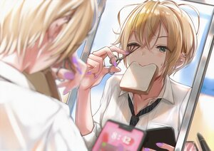 Rating: Safe Score: 40 Tags: blonde_hair close food green_eyes mappaninatta mirror original phone reflection school_uniform shirt short_hair tie wink User: Dreista