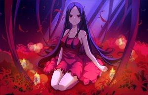 Rating: Safe Score: 37 Tags: black_hair dlwoals1532 dress fire flowers long_hair original red_eyes User: RyuZU