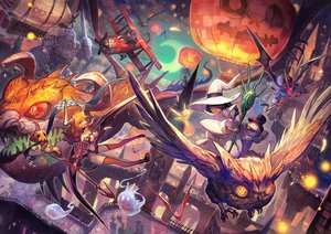 Rating: Safe Score: 101 Tags: aircraft animal bandage bat bird city demon group halloween hat horns lack moon original owl sky spear staff thighhighs weapon wings witch_hat User: Flandre93