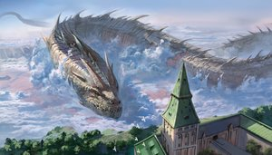 Rating: Safe Score: 100 Tags: building city clouds dragon miso_katsu original scenic sky User: RyuZU