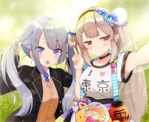 Rating: Safe Score: 35 Tags: 2girls blonde_hair blush choker elu_(nijisanji) gray_hair headband higuchi_kaede kastella long_hair nijisanji orange_eyes pointed_ears purple_eyes seifuku twintails User: otaku_emmy