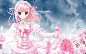 Rating: Safe Score: 76 Tags: clouds dress flowers headdress pink_eyes pink_hair ribbons rose short_hair suzuhira_hiro User: 秀悟