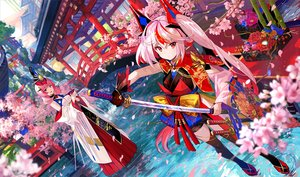 Rating: Safe Score: 44 Tags: 2girls building cherry_blossoms flowers fuji_choko japanese_clothes katana long_hair original pink_hair red_eyes sword thighhighs torii waifu2x water weapon User: BattlequeenYume
