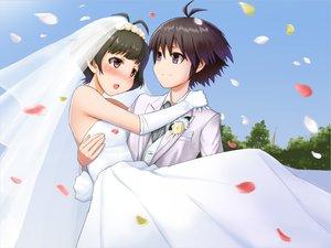 Rating: Safe Score: 22 Tags: akizuki_ryou idolmaster kikuchi_makoto male trap wedding wedding_attire User: HawthorneKitty