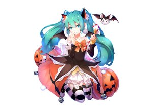 Rating: Safe Score: 67 Tags: aliasing animal aqua_eyes aqua_hair bat candy dress ello-chan fang garter_belt halloween hatsune_miku long_hair photoshop pumpkin thighhighs twintails vocaloid white wings User: luckyluna