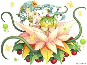 Rating: Safe Score: 13 Tags: blush butterfly chiruchiru_(monmusu_harem) dress flowers food fruit green_hair long_hair monmusu_harem namaru_(summer_dandy) pointed_ears tentacles twintails yellow_eyes User: otaku_emmy