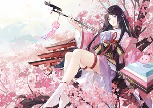 Rating: Safe Score: 39 Tags: black_hair blue_eyes chajott64 cherry_blossoms flowers japanese_clothes long_hair onmyouji petals tagme_(character) User: RyuZU