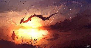 Rating: Safe Score: 94 Tags: animal bird dragon landscape long_hair original ryky scenic signed sky User: BattlequeenYume