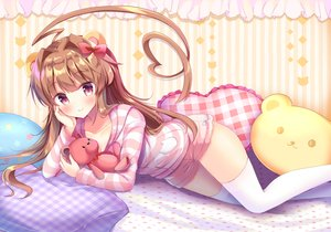 Rating: Safe Score: 115 Tags: animal_ears anthropomorphism bow brown_hair kantai_collection kuma_(kancolle) long_hair masayo_(gin_no_ame) pajamas shorts teddy_bear thighhighs zettai_ryouiki User: BattlequeenYume