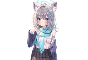 Rating: Safe Score: 25 Tags: albinoraccoon animal_ears aqua_eyes blue_archive blush foxgirl gray_hair halo scarf school_uniform shiroko_(blue_archive) shirt short_hair signed skirt tie white User: otaku_emmy