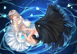 Rating: Safe Score: 28 Tags: 2girls animal butterfly douyougen dress gray_eyes gray_hair long_hair original short_hair sleeping water white_hair wink User: BattlequeenYume