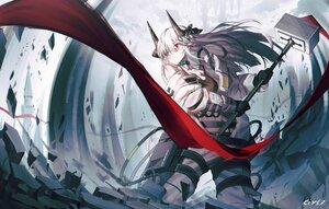 Rating: Safe Score: 53 Tags: arknights bai_yemeng gloves gray_hair horns long_hair mudrock_(arknights) red_eyes signed User: Nepcoheart