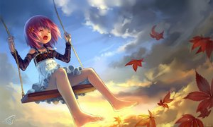 Rating: Safe Score: 185 Tags: autumn clouds dress leaves loli nopan observerz original pink_hair short_hair sky tagme User: Kunimura