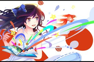 Rating: Safe Score: 84 Tags: animal black_hair book bow dress fish .l.l long_hair original User: Flandre93