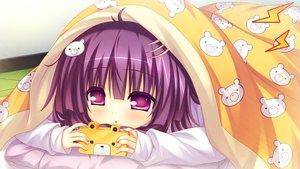 Rating: Safe Score: 150 Tags: 2-g aliasing bed game_cg game_console morino_nemu purple_eyes purple_hair softhouse-seal softhouse-seal_grandee zettai_seifuku_gakuen_kessha_panyanyanda!! User: Wiresetc